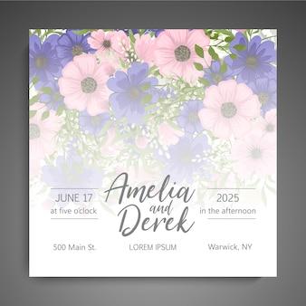 Suite de cartes d'invitation de mariage avec modèle de fleur
