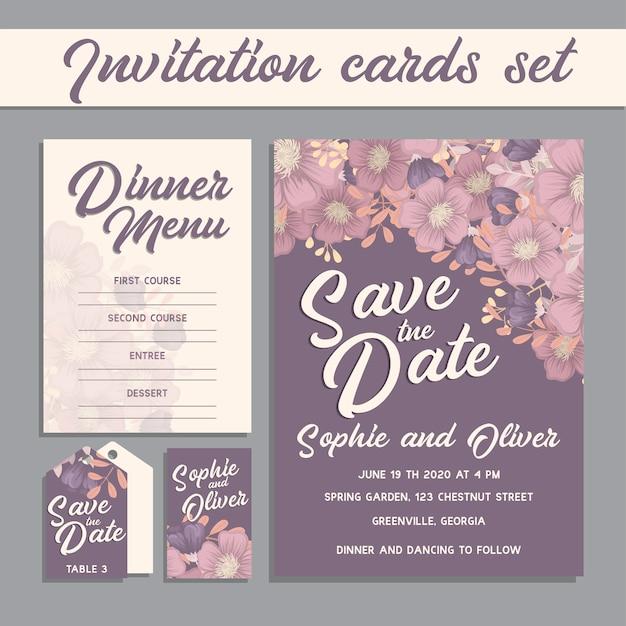 Suite de cartes d'invitation de mariage avec des modèles de fleurs.