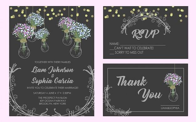 Suite de cartes d'invitation de mariage.