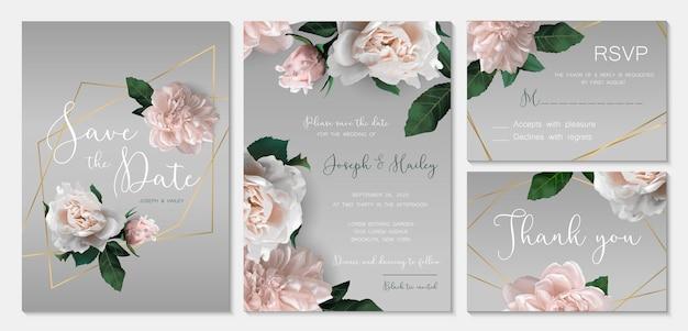 Suite d'invitation de mariage avec des fleurs romantiques.