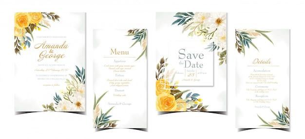 Suite d'invitation de mariage floral avec de belles fleurs jaunes et blanches