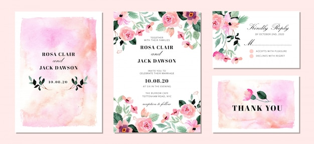 Suite d'invitation de mariage avec fond aquarelle floral et abstrait