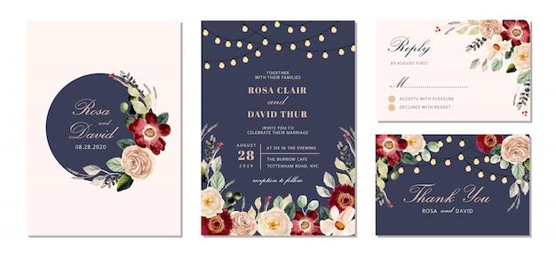 Suite d'invitation de mariage avec guirlande lumineuse et aquarelle florale