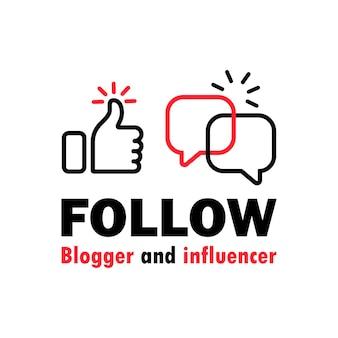 Suivez l'icône du blogueur et de l'influenceur. réseau social. vecteur sur fond blanc isolé. eps 10.