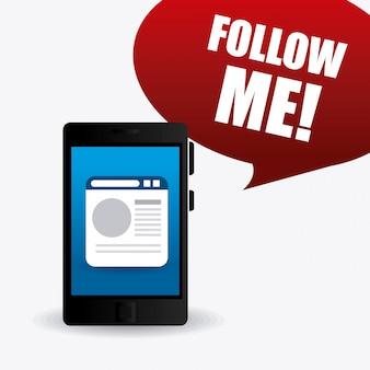 Suivez-moi la conception de thèmes sociaux et commerciaux