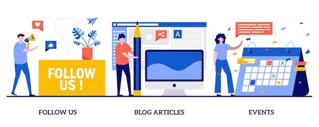 Suivez-nous, articles de blog, illustration d'événements avec des personnes minuscules