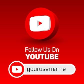 Suivez-nous sur la bannière carrée des médias sociaux youtube avec logo 3d et boîte de nom d'utilisateur
