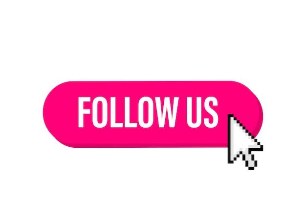 Suivez-nous bannière mégaphone dans un style 3d sur blanc
