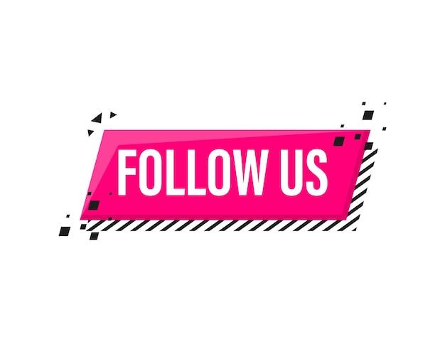 Suivez-nous bannière rose mégaphone dans un style 3d sur blanc