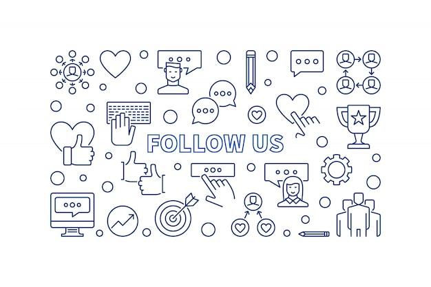 Suivez-nous icônes de contour de concept