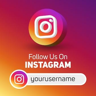 Suivez-nous sur instagram bannière carrée de médias sociaux avec logo 3d et boîte de nom d'utilisateur