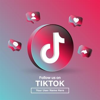 Suivez-nous sur le logo tiktok 3d dans un cercle moderne pour les icônes de médias sociaux ou rejoignez-nous bannière