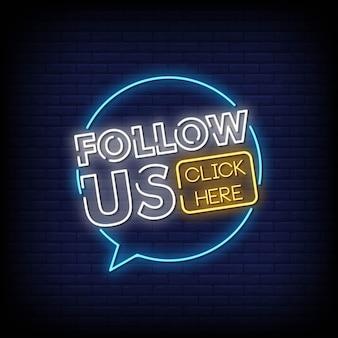 Suivez-nous neon signs style text vector