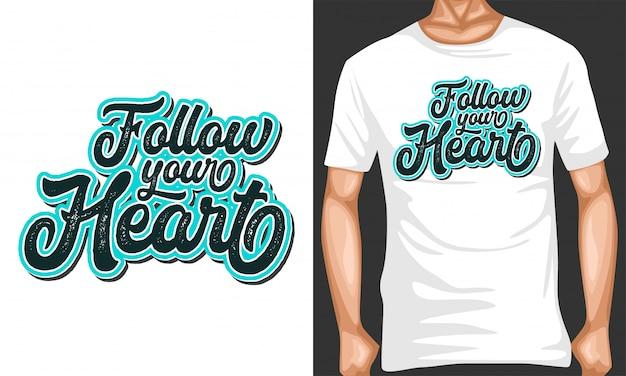 Suivez votre typographie de lettrage de coeur