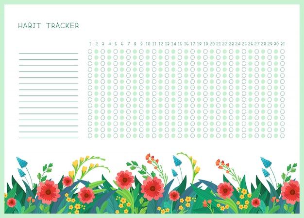 Suivi des habitudes pour le modèle plat du mois. organisateur personnel sur le thème des fleurs sauvages du printemps avec cadre décoratif. bordure florale de la saison estivale avec lettrage stylisé