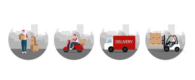 Suivi de livraison en ligne. livraison du processus. service de livraison. style plat.