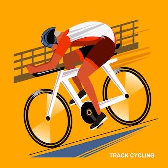 Suivre l'événement sportif de jeu d'été des athlètes cyclistes dans un style plat