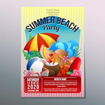 Summer beach party festival affiche de vacances modèle parapluie plage