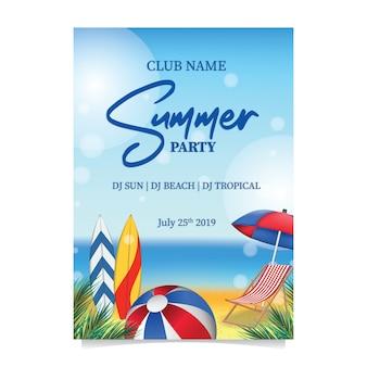 Summer beach party avec planche de surf