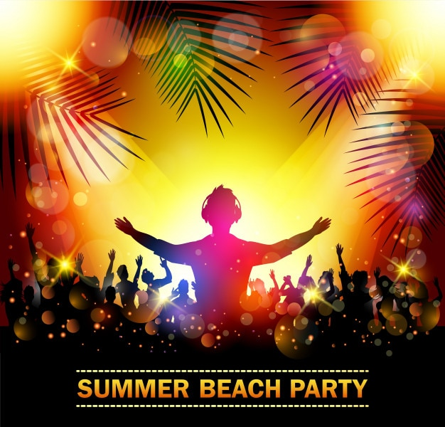 Summer beach party avec des silhouettes de danse