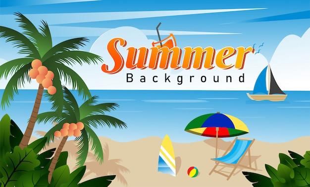 Summer beach avec péages de vacances élément