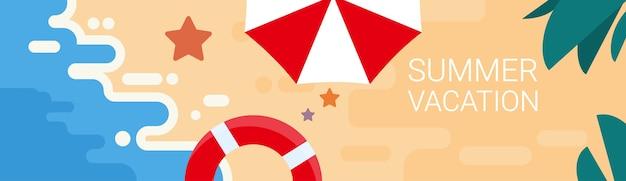 Summer beach set de vacances sand tropical banner