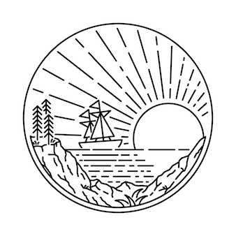 Summer beach ship sea line graphic illustration art t-shirt design
