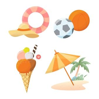 Summer element collection illustration