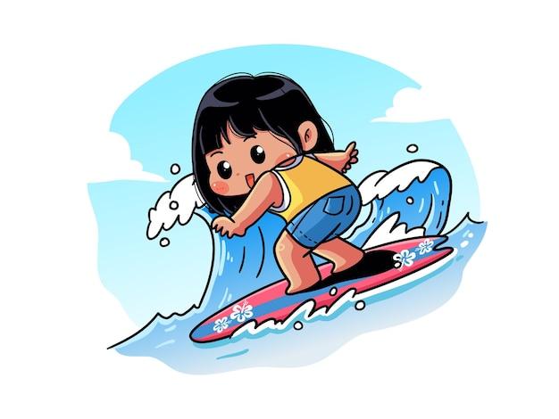 Summer girl mignonne et kawaii surfe sur la vague sur sa planche de surf chibi