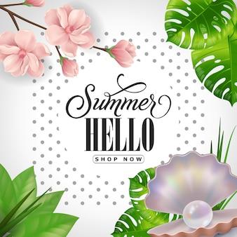 Summer hello magasinez maintenant lettrage. inscription calligraphique avec des feuilles tropicales