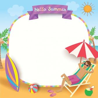Summer man relax frame