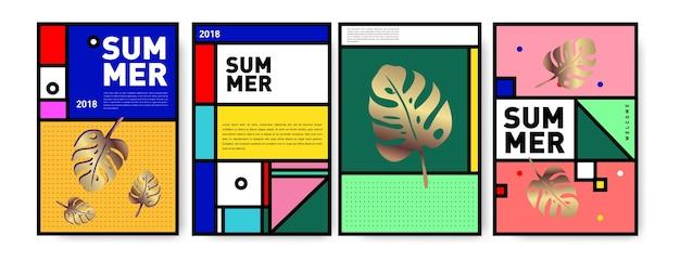 Summer memphis minimaliste ensemble d'affiches