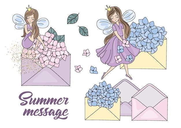Summer message set vector illustration