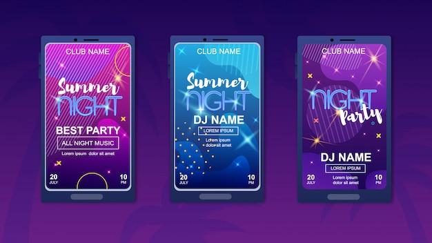 Summer night best party banner set
