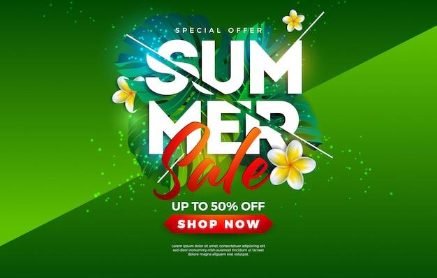 Summer sale design avec des fleurs et des feuilles de palmier exotiques