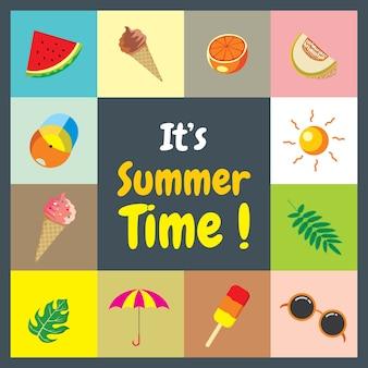 Summer sale summer time promotion icône de titre flyer bannière