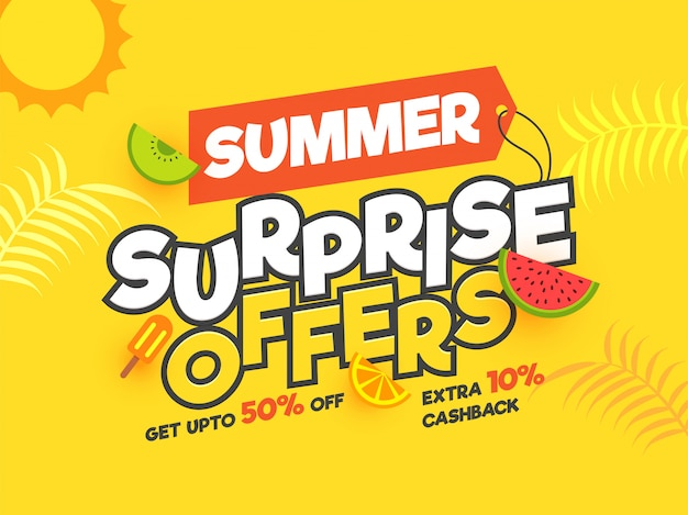 Summer surprise offre une conception d'affiche avec des offres impressionnantes.