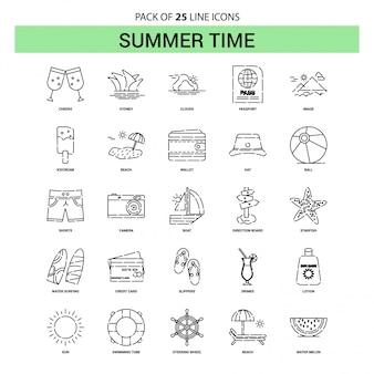 Summer time line icon set - 25 style de contour en pointillé