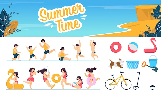 Summer time marine set avec personnages d'enfants