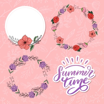 Summer time vector lettrage de texte et ensemble de cadres floraux