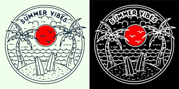 Summer vibes 2 logo monoline pour autocollant de tatouage badge logo ou rétro vintage