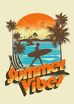 Summer vibes design rétro