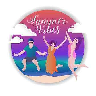 Summer vibes fun vector colorfull