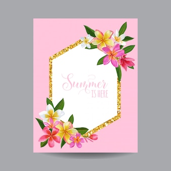 Summertime floral frame. conception de fleurs de plumeria tropical
