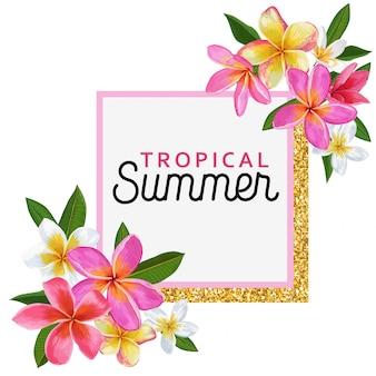 Summertime floral frame. conception de fleurs de plumeria tropical