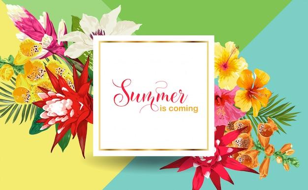 Summertime floral frame. fleurs tropicales et feuilles de palmier