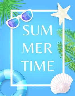 Summertime avec frame lifebuoy et seashell