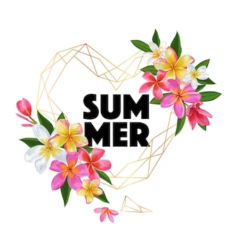 Summertime lettrage floral. conception de fleurs de plumeria tropical