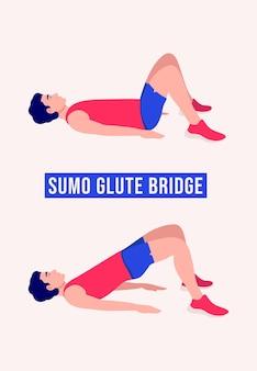 Sumo glute bridge exercice femme entraînement fitness aérobie et exercices