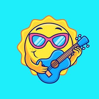 Sun cartoon jouant de la guitare avec un doux sourire. illustration d'icône de vecteur, isolée sur le vecteur premium